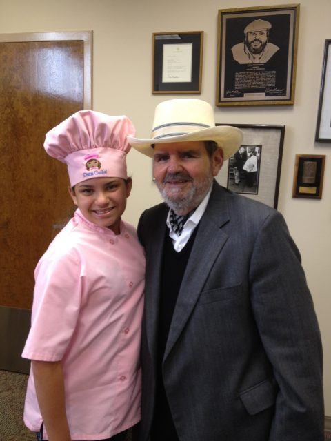 Kid Chef Eliana with Chef Paul Prudhomme