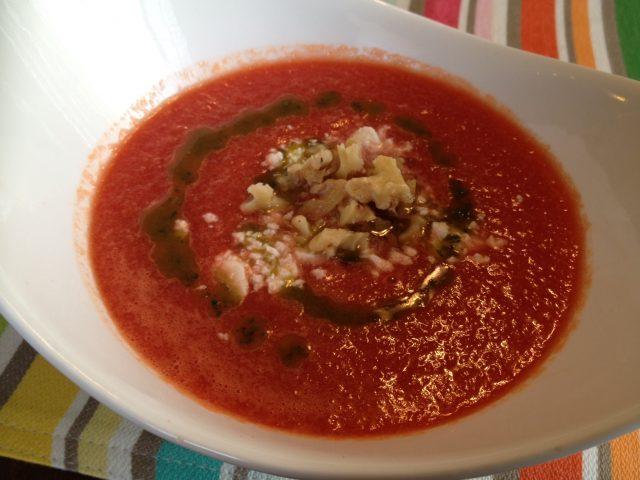 Melon Gazpacho with Oregano Oil