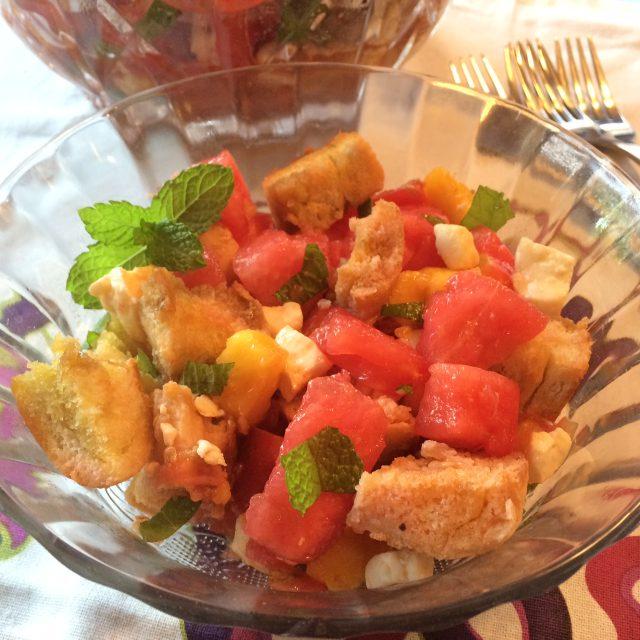 Watermelon Peach and Feta Panzanella
