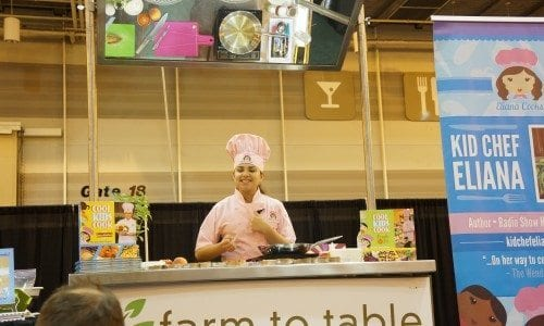 Kid Chef Eliana cooking demo at FT2i