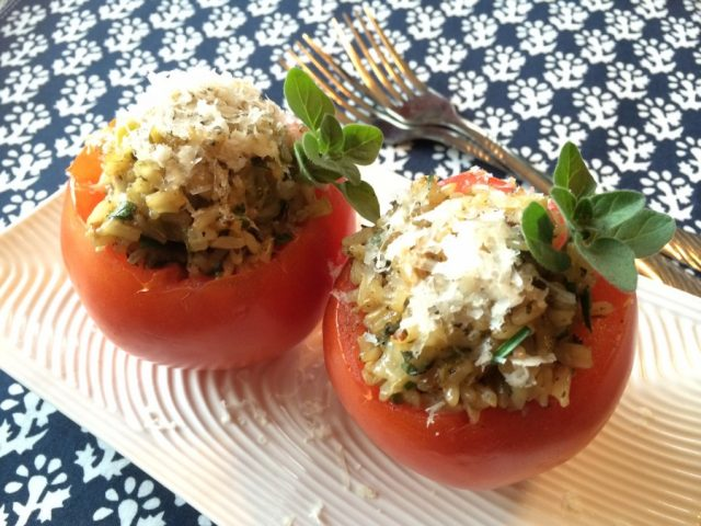 Herbed Brown Rice Stuffed Tomatoes